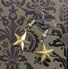 Celestial Star Earrings 24 Karat Gold Plate or Copper 5 Pointed Stars EG504 / EC041 by NostalgicCharm on Etsy