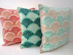 ANY TWO PILLOWS Throw Pillow Art Deco Aqua by CushionsandMore, $70.00