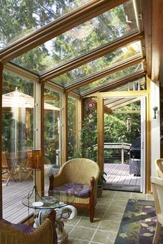 Outdoor-sun-room, just off the kitchen.