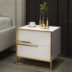 Modern 2 Drawer White / Black Lacquer Nightstand in Gold - Nightstands - Bedroom Furniture - Furniture White And Gold Nightstand, Black White And Gold Bedroom, White And Gold Decor, Nightstand Ideas, Bedside, Modern Luxury Bedroom, Luxurious Bedrooms, Modern Master Bedroom, Luxury Bedrooms
