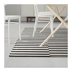 "STOCKHOLM Rug, flatwoven, black stripe handmade, stripe off-white black/off-white - handmade/stripe black/off-white - 5 ' 7 ""x7 ' 10 "" - IKEA"