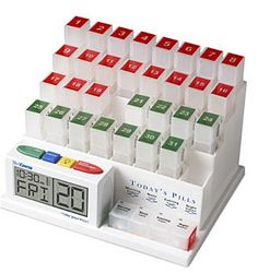 If you have to take pills daily here`s a great organized system to keep up with it all! Grab the MedCenter 31 Day Pill Organizer with Reminder System for shipped (regularly I know this isn`t as big of a discount as I normally like to . Pill Box Organizer, Organizers, Weekly Organizer, Plastic Organizer, Talking Alarm Clock, Medicine Organization, Medicine Storage, Alzheimer's And Dementia, Early Dementia