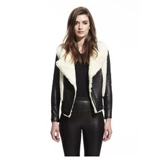 Classing collarless shearling and lambskin motorcycle jacket with brilliant…