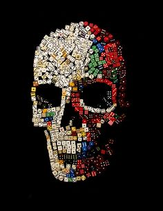 Made out of dice,dominoes,and scrabble letters...awesome