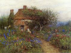 The Athenaeum - A Cottage near Brook, Witley, Surrey (Helen Allingham - circa No dates listed)