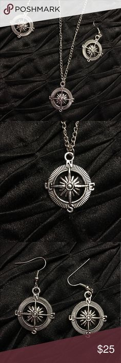 Compass necklace and earrings set New vintage style compass set Jewelry Necklaces