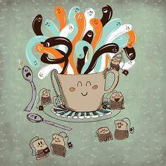Tea Time. Art print by Gina Mayes via Society6.