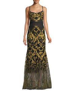 b9f2d50d21f7d3 Get free shipping on Marchesa Notte Embroidered Corset Gown w  Adjustable  Straps at Neiman Marcus