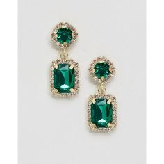 ASOS Double Jewel Drop Earrings ($16) ❤ liked on Polyvore featuring jewelry, earrings, green, green drop earrings, green earrings, green prom jewelry, monarch butterfly earrings and party earrings