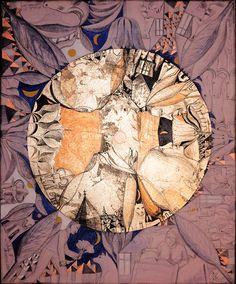 Luna plina (ciclu). Culori acrilice, creion si schlagmetal (auriu, cupru, argintiu) gravat/panza