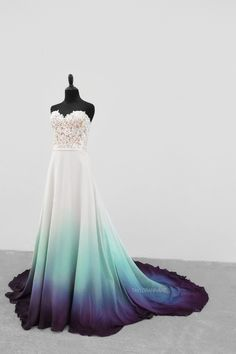 Bridal Gowns Colored by Taylor Ann Art - Gallery Ombre Wedding Dress, White Wedding Dresses, Bridal Dresses, Cute Prom Dresses, Event Dresses, Pretty Dresses, Fantasy Gowns, Vestidos Vintage, Beautiful Gowns