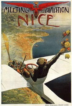 Terrific poster for an early air show in Nice, France, in 1910.