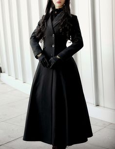 Fanplusfriend Elegant Gothic Aristocrat Wide Skirt Bottom Slim Waist Long Thick Wool Winter Coat