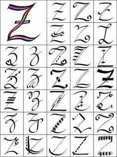 Write Z In Various Styles Of Calligraphy