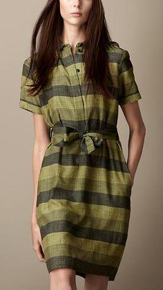 Striped Cotton Silk Shirt Dress   Burberry