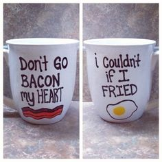 Bacon & Egg Mug. For Snackdown/DIY! I can't think of a more perfect sample craft for February! Egg Mug, Ideias Diy, Cute Mugs, Funny Mugs, Do It Yourself Home, Homemade Gifts, Morning Coffee, Coffee Cups, Coffee Coffee
