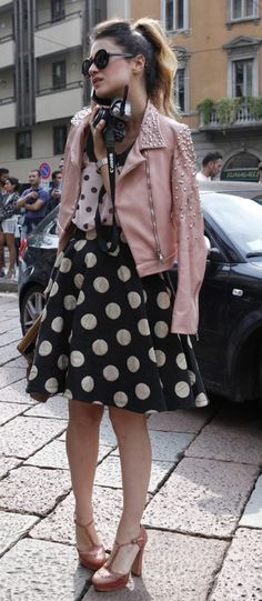 polka dots + pink leather