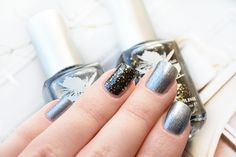 Party season metallic nails using Priti NYC Pewter Veil, a dark greyish-blue, and Black Moon Pansies, a glossy charcoal black with gold glitter and silver sparkle Metallic Nails, Gold Glitter, Black Moon, Greyish Blue, Pansies, Get The Look, Pewter, Veil, Rings For Men