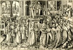 The dance at the court of Herod; in the centre of the hall is a podium with musicians on top, around which several couples dance; in the background l the beheading of John the Baptist, in the background r, Salome presents the severed head at the banquet table of Herod and Herodias; third state.  c. 1500 Engraving