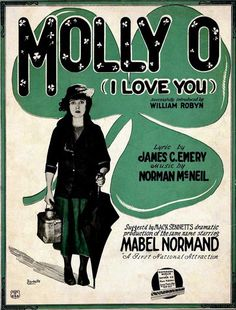 """Molly O"" ~ 1921 sheet music, featuring Mabel Normand..."