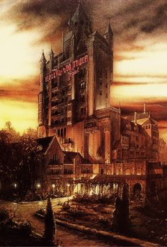 Concept artwork for The Twilight Zone Tower of Terror at Disney's Hollywood Studios (then Disney-MGM Studios)