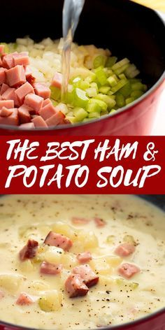 This healthy ham and potato soup is pure comfort food in a bowl. Easy, fast, and low-calorie, it's one of my favorite busy weeknight meals. Ham And Potato Soup, Ham Soup, Healthy Potato Soup, Ham And Potato Casserole, Baked Potato Soup, Healthy Soups, Best Soup Recipes, Crockpot Recipes, Dinner Recipes