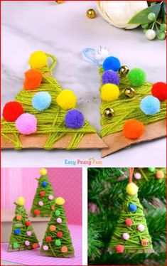 Diy Christmas Videos, Preschool Christmas, Christmas Ornament Crafts, Christmas Activities, Xmas Crafts, Handmade Christmas, Halloween Crafts, Christmas Christmas, Diy Ornaments For Kids