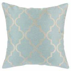 """Pillow with a trellis motif. Made in the USA.  Product: Set of 2 pillowsConstruction Material: 100% Polyester cover and polyester fillColor: Light blue and silverFeatures:  Zippered closure Inserts includedMade in Council Bluffs, Iowa Dimensions: 17"""" x 17"""" Cleaning and Care: Spot clean"""