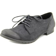 Rocket Dog Julian Women Oxford Shoes ($15) ❤ liked on Polyvore featuring shoes, oxfords, black, synthetic shoes, balmoral shoes, black oxfords, brogue shoes and rocket dog oxfords