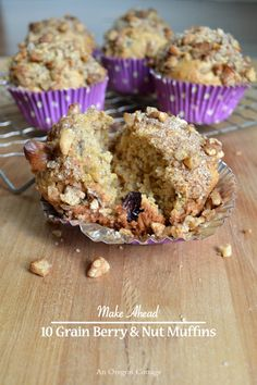 Multi-grain, honey-sweetened, dried fruit & nut butter-filled freezer muffins - easy to make & bake up whenever a hot muffin is desired!