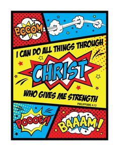 I can do all things through Christ who gives me strength. Philippians 4:13 Fun comic themed print that every boy would love to have in their room. This is also a perfect verse for young boys to reflect on especially as they get older and face challenges. Knowing that anything is possible with God will help them be strong boys with confidence. -Comic theme -Different size options available -Frame not included -Instant download high resolution option