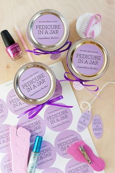 Pedicure in a Jar for Baby Shower Prizes #gift #tags #labels - SHOP Modern Museo labels: http://www.evermine.com/all_labels/MM-36/