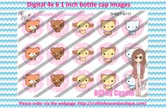 1' Bottle caps (4x6) Digital Kawaii animals K117   PLEASE VISIT http://craftinheavenboutique.com/AND USE COUPON CODE thankyou25 FOR 25% OFF YOUR FIRST ORDER OVER $10! #bottlecap #BCI #shrinkydinkimages #bowcenters #hairbows #bowmaking #ironon #printables #printyourself #digitaltransfer #doityourself #transfer #ribbongraphics #ribbon #shirtprint #tshirt #digitalart #diy #digital #graphicdesign please purchase via link http://craftinheavenboutique.com