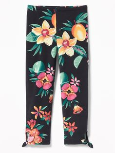 Old Navy Girls' Cropped Side-Tie Leggingss Black Floral Print Regular Size XS Old Navy Kids, Shop Old Navy, Girls In Leggings, Floral Leggings, Cute Outfits For Kids, Skinny Legs, Thighs, Floral Prints