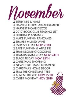 November 2016 Seasonal Living List ~Paper and Glam