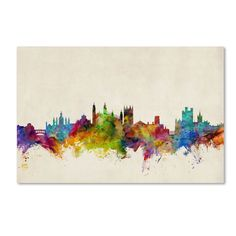 Cambridge England Skyline II by Michael Tompsett Graphic Art Gallery Wrapped on Canvas