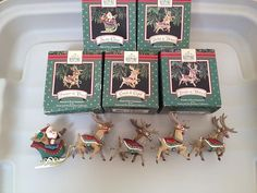 5 Hallmark Ornaments Santa Claus and His Reindeer Collection 1992 Complete