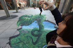 Warner Bros pictures Japan and Joe and Max created this street art to celebrate the release of Jack the Giant Slayer in cinemas, 3d Street Art, Street Artists, Jack The Giant Slayer, Pavement Art, 3d Chalk Art, Sidewalk Chalk Art, Street Painting, Illusion Art, Sand Art