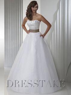 Cheap A-line Strapless Floor-length Organza White Quinceanera Dresses