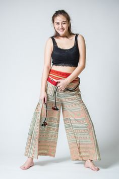 Traditonal Prints Thai Hill Tribe Fabric Womens Palazzo Pants Salmon Cream