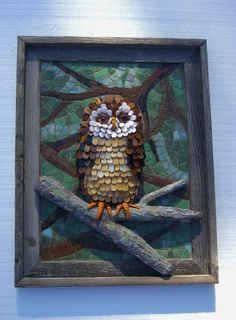 16x12 Framed Owl Sculpture with mosaic of stained glass, glass beads, shell, copper ball chain and paper mache