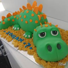 #dinosaur #cute #green #orange #cake #dlish Cakes For Boys, Birthday Cakes, Orange, Green, Cute, Desserts, Food, Meal, Anniversary Cakes