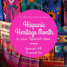 Hispanic Heritage Month will be here soon! The great thing about HHM is that it gives you a whole month to teach about it. That can mak. Spanish Teaching Resources, Spanish Activities, Class Activities, Spanish Games, Teacher Resources, Teaching Ideas, Elementary Spanish, Spanish Classroom, Spanish Teacher