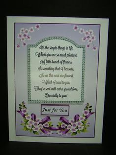 just for you Verse on Craftsuprint designed by Gail Collins - made by beverly carmichael - Printed on to good quality glossy photo paper. Cut out all pieces. Attached main piece to a white card base. Attached other pieces using foam pads. - Now available for download!