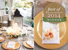 Love this look selected by Jessica + Eric for their fall destination wedding at CJ's Off the Square in Franklin, TN. Southern inspired details with just a touch of gold made this a really gorgeous reception look. Fans loved it too and voted it the best of 2014!  CJ's Off the Square Nashville garden wedding and event venue #lantern #fallwedding