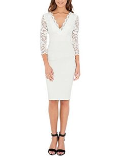 Womens VNeck 34 Sleeve Floral Lace Kneelength Bridesmaid Dresses Sheath Pencil Dress IRNL01U3321 M68 White *** Check out this great product.