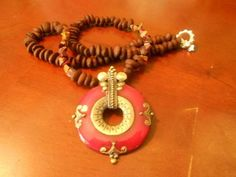 Handmade medium/long coffee beans necklaces combine with metal,semi-precious stones,and pewter