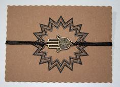 Glücksarmband Glücksbringer Armband Hamsa Hand Vintage Braun verstellbar 21 cm 6,20€