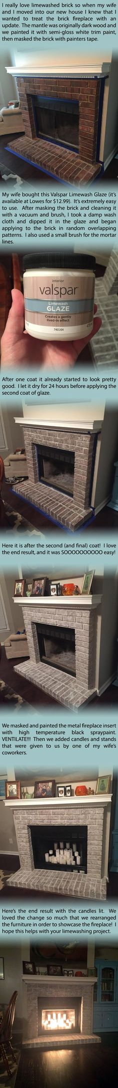 Personal tutorial from our limewashed brick fireplace project. We used Valspar…