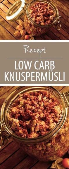 Crunchy, nutty, delicious: This low carb muesli is very easy and quick to make yourself. A crunchy muesli for breakfast or in between is really delicious - and has far too much sugar and plenty of cal Balanced Breakfast, Low Carb Breakfast, Breakfast Ideas, Low Carb Recipes, Diet Recipes, Healthy Recipes, Brunch Recipes, Healthy Fit, Quick Recipes